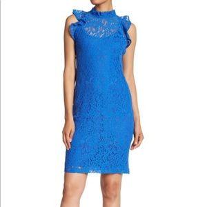 Alexa Admor Blue Lace Sheath Ruffle Dress 1560